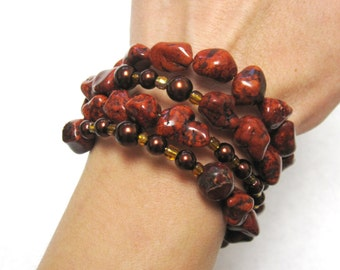 Chunky Stone Western Bracelet Copper Wrap Buffalo Stone Glass Beads No Skulls