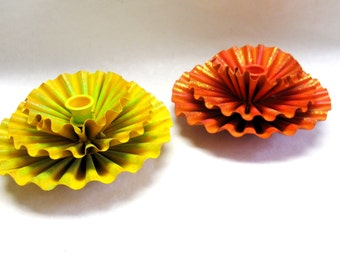 Candle Holder Flower Orange Yellow Mod 60s Metal