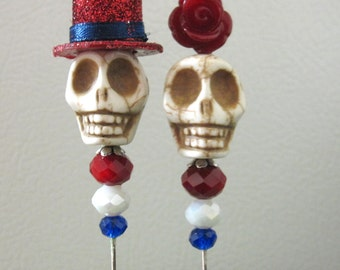 Day of the Dead Cake Topper Sugar Skull Lapel Pin Hat Pin Bride Groom Red White Blue