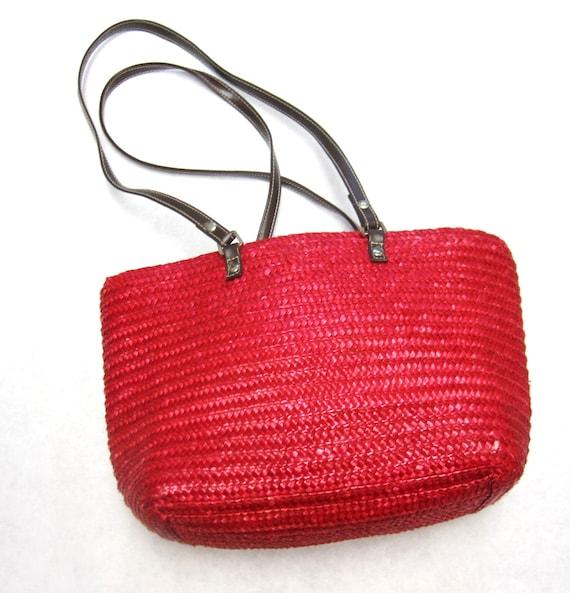 Straw Purse Woven Handbag Natural Fiber Red Bucket Tote