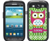 Monogrammed OTTERBOX Commuter Samsung Galaxy S3 S4 S5 S6 Note 3 4 5 Phone Case Cover - Custom Pink Owl Green Lattice B1