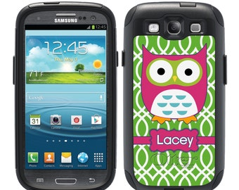 Monogrammed OTTERBOX Commuter Samsung Galaxy S7, S6, S6 Edge, S5, S4, Note 5, 4, 3 Phone Case Cover - Custom Pink Owl Green Lattice B1