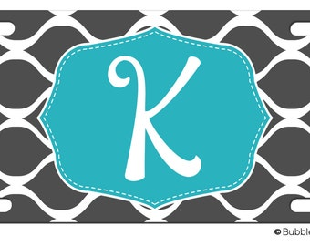 Personalized GRAY CHAIN charcoal Turquoise stripe retro License plate car Tag Name circle Monogram