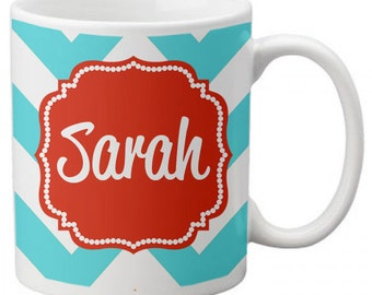 CUSTOM personalized Coffee Mug Cup for Kitchen or Home Classic Chevron Any Colors, Saying or Monogram