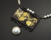 Pearl and silver pendant with Japanese patina and Keum Boo inspired with Japanese partition.