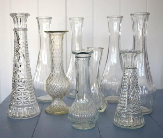 Wedding centerpieces assorted vintage glass vases set of