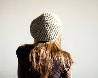 Pure Wool Crochet Beret in Khaki Brown, Hand-knitted Natural Winter Accessories, Bohemian Fashion