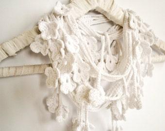 White Flower Scarf, Egyptian Cotton Crochet Scarf
