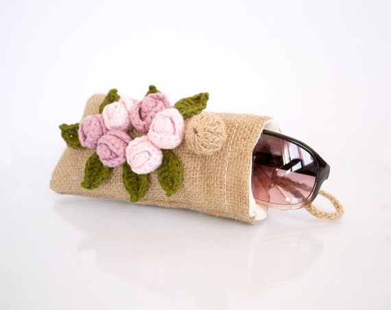 Country Chic Burlap Sunglasses Eyeglasses Case with Pink Roses, Shabby Chic Floral Eyewear, Romantic Accessories