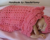 Crochet Baby Cocoon Bubble Gum Pink Swaddle Sack Cuddle Sack Baby Blanket and Hat Newborn Clothing Baby Accessoires