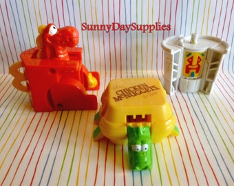 McDonalds Happy Meal Toys,  Dinosaurs and Robot, Changeables, Robots , Dinosaurs, Chicken McNuggets, Vintage Toys, Drink, 1980's, Food Toys