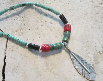Handmade Turquoise Black Sterling Silver Feather Necklace Southwestern Jewelry