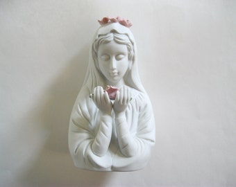Madonna Virgin Mary Bust Figurine Sanmyro Vintage Pink Flowers Collectible
