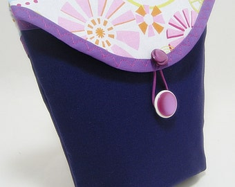 Purple Bicycle Handlebar Bag with Pink and White Modern Graphic Flap  1387