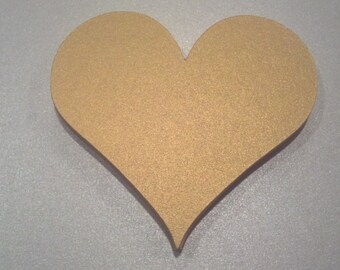 10 Metallic Gold Large Heart Die Cuts 3 inches