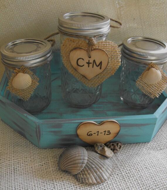 Beach Wedding Ideas Mason Jars: Items Similar To Beach Mason Jar Sand Ceremony Set