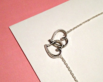 Silver Double Heart Love charm, pendant necklace- bridal, engagement, anniversary, handmade jewelry
