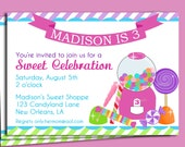 Candy Invitation Printable or Printed with FREE SHIPPING - Sweet Shoppe Birthday Invitation