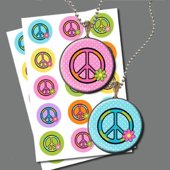 Peace sign flower power inch circle bottle cap image