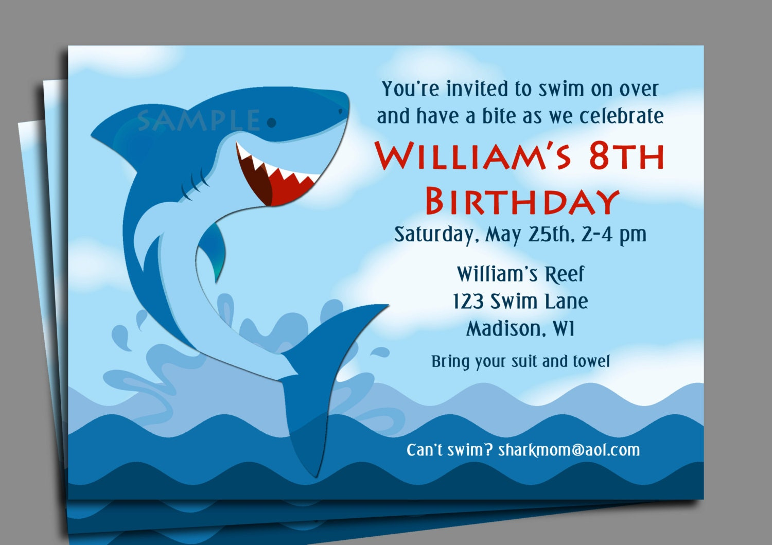 Shark Invitation Printable or Printed with FREE SHIPPING – Shark Invitations Birthday Party