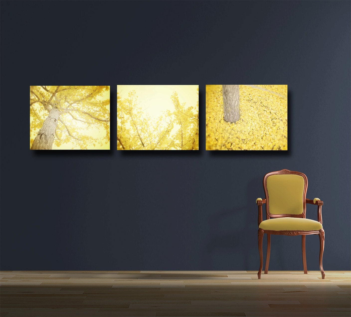 Wall Art Canvas Yellow : Yellow wall art canvas gallery wraps set of by