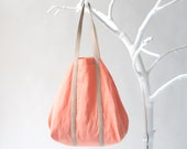 Cotton Shopper Bright Salmon with Twin Top Handels in Nude Leather (LAST ONE), tote bag, shoulder bag, beach bag
