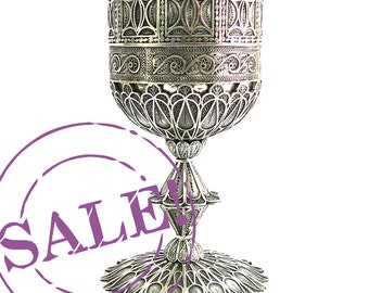 SALE 15% OFF - 925 Sterling silver Filigree Wine Goblet / Chalice Collectors Item - Judaica - Free Express Shipping ID1751