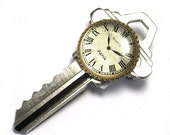 Clock on Key Brooch, recycled, upcycled, key jewelry, eco friendly, watch, repurposed key, reclaimed, for her