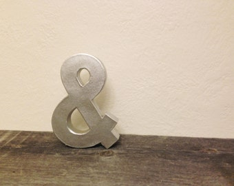 """SILVER Faux Metal Block Ampersand - & """"and"""" Sign - ANY color"""
