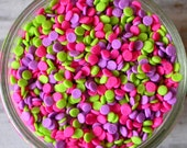 Sprinkles, 3 oz - Neon Mini Sequins Confetti Quins - for Cupcakes - Cake Pops - Cookies - Ice Cream - Dipped Pretzels - Cakes - Desserts
