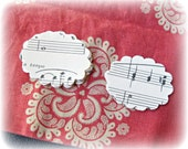 2 Inch Scalloped Oval 24 Paper Shapes Book Sheet Music Organ Hand Punched Handmade