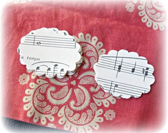 Sheet Music Scalloped Oval Punchies Jane Austen Paper Shapes 2 Inch Wedding Handmade Domum Vindemia Confetti Scrapbooking Ephemera Paper