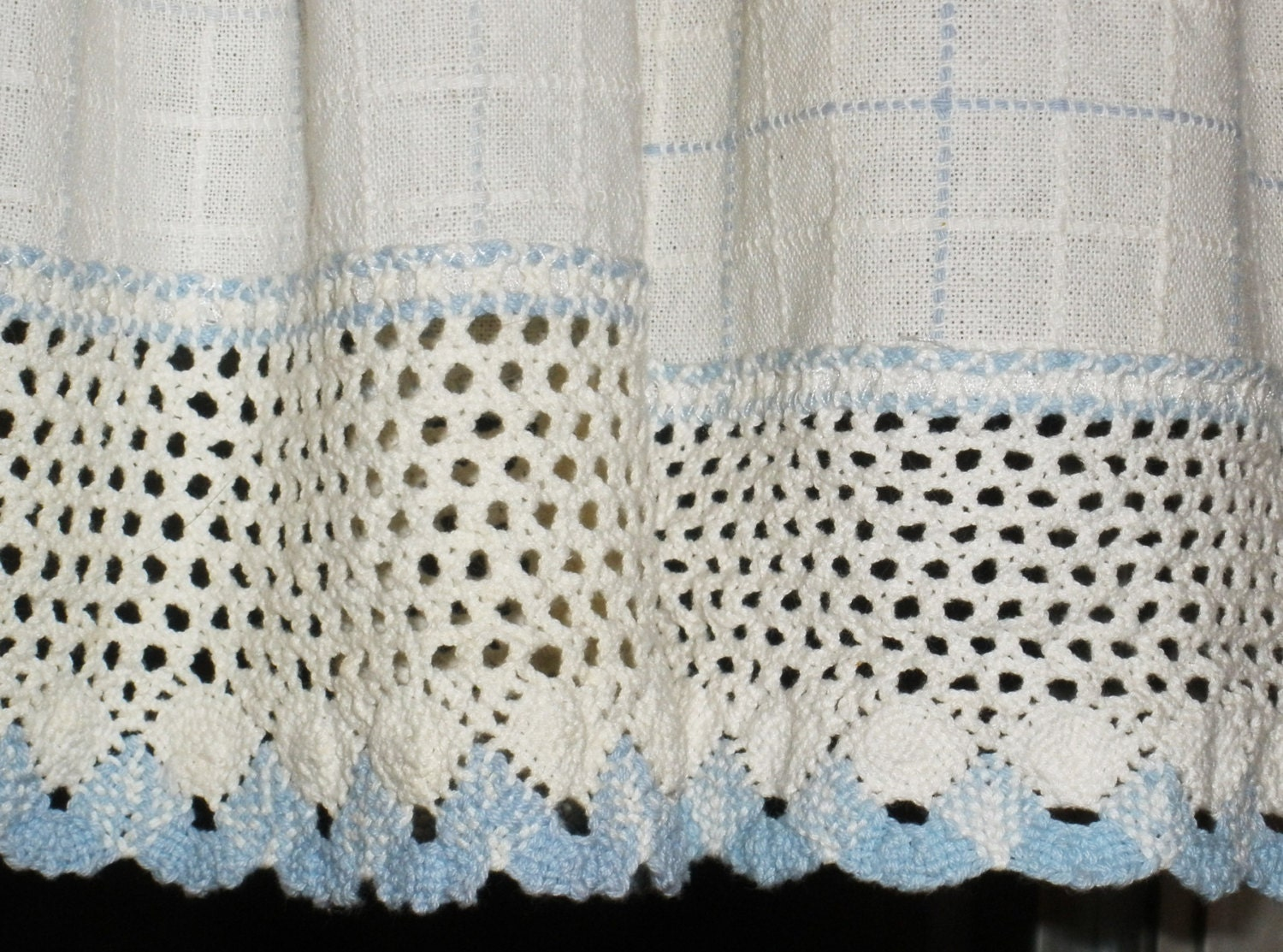 Vintage Kitchen Curtains / Valance . White and Blue with Wide