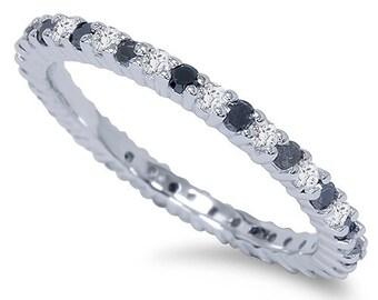 Black & White Diamond 1/2CT Eternity Ring 14K White Gold