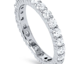Diamond Eternity Ring, 1.00CT Diamond Eternity Band, Womens Stackable Anniversary Ring 14 KT White Gold Size 4-9