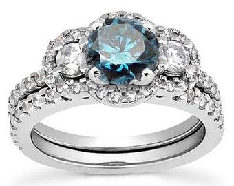 1.75CT 3-Stone Blue Diamond Engagement Ring Matching Wedding Pave Band Bridal Set 14 Karat White Gold Halo