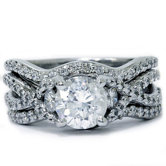 ... Infinity REAL Diamond Engagement Ring Wedding Guard Band Set 14 KT