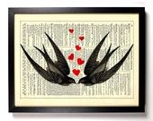 Swallows In Love, Home, Kitchen, Nursery, Bath, Office Decor, Wedding Gift, Eco Friendly Book Art, Vintage Dictionary Print 8 x 10 in.