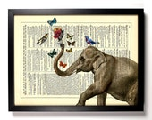Elephant and His Friends, Home, Kitchen, Nursery, Office Decor, Wedding Gift, Eco Friendly Book Art, Vintage Dictionary Print 8 x 10 in.