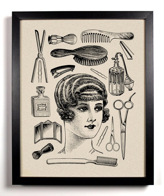 Hers Vintage Woman and toiletries Art Print 8 x by StayGoldMedia