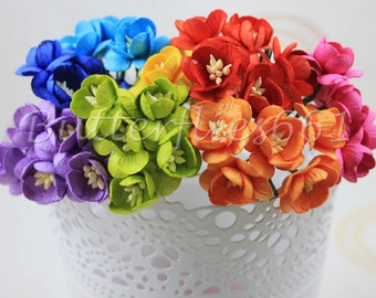 50 Handmade Mulberry Paper Flowers Mixed Rainbow Color Tone Sakura Code S427
