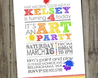 Art Party Invitation, Art party invites, Art Birthday Party Invitations, PRINTABLE, Art Birthday Invitation, Art Party Printables