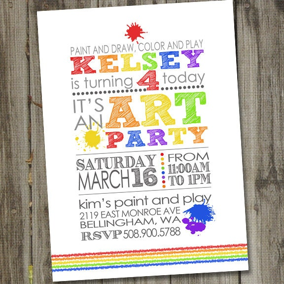 art party invitation art party invites art birthday party, Birthday invitations