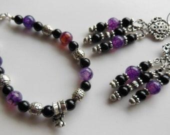SALE Purple and Black, Agate set Boho style Earrings and Bracelet S374