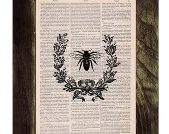Summer Sale Laurel wreath queen Bee Print on Dictionary Book - Butterfly Art on Upcycled Dictionary Book Wall Art Home Decor BFL118