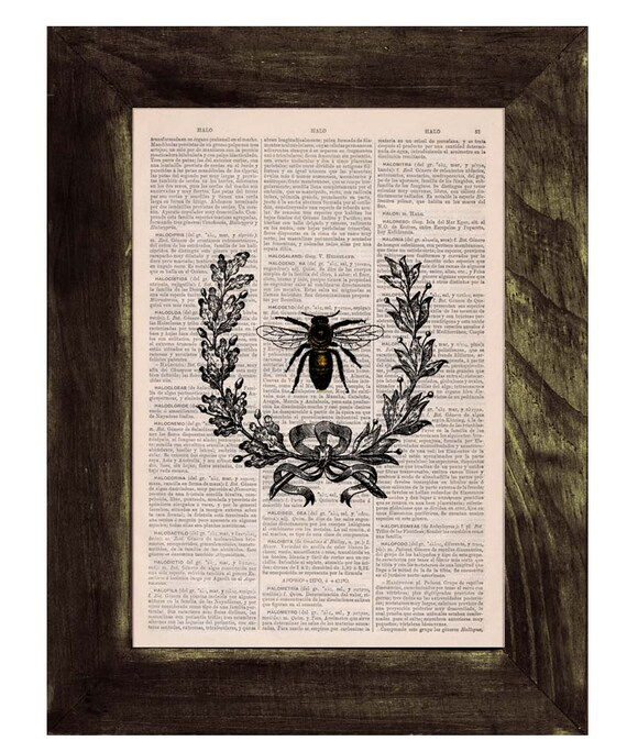 BOGO Sale Laurel wreath queen Bee Print on Dictionary Book - Butterfly Art on Upcycled Dictionary Book Wall Art Home Decor BFL118