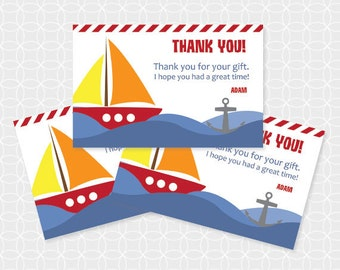 Sailboat Party Thank You Tags, Printable file, Personalized