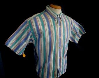 """80s 16 1/2"""" Chaps Seersucker Ralph Lauren Cotton Men's Button Down Camp S/S Shirt Green Blue Striped"""