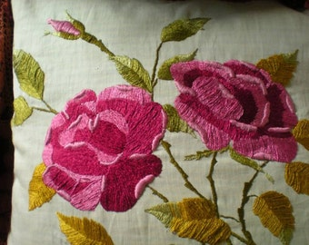 TREASURY ITEM SALE Antique Silk Hand Embroidered on Linen Goose Down Pillow Large Roses