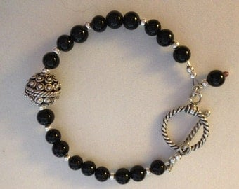 New - Black Onyx & Sterling Silver Bracelet